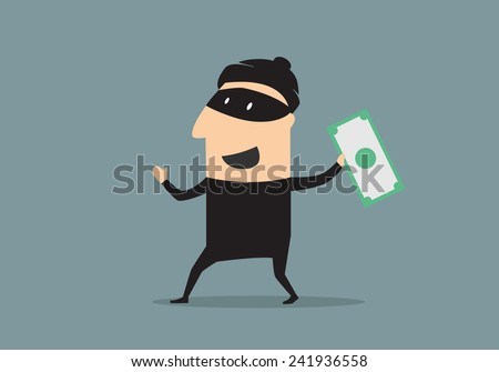 Excited smiling cartoon thief in black mask and costume holding a stolen dollar banknote, flat style - stock vector