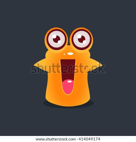 Excited Yellow Alien Cute Childish Flat Vector Bright Color Drawing Isolated On Dark Background - stock vector