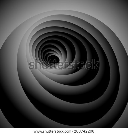 Exciting gently spiraling oval of dark gray levels on a black background, an optical illusion. - stock vector