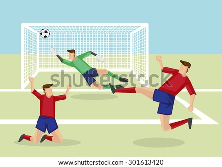 Exciting scene of attacker kicking soccer ball into the net to score victory and goalkeeper fail to save the goal. Vector cartoon illustration of association football sport in action. - stock vector