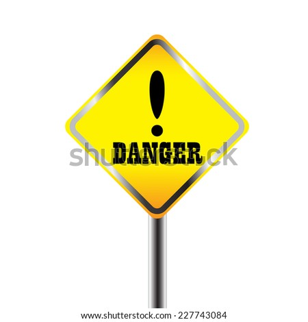 Exclamation danger signs - stock vector