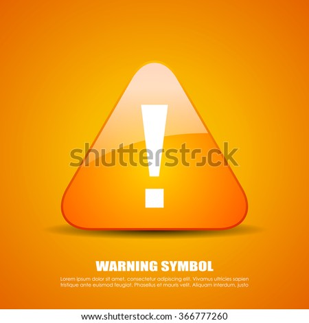 Exclamation danger vector icon on yellow background - stock vector