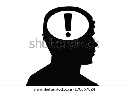 exclamation mark in the head. concept vector on white - stock vector