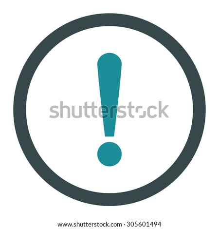 Exclamation Sign vector icon. This rounded flat symbol is drawn with soft blue colors on a white background.