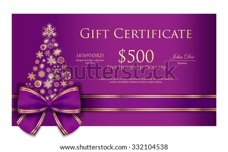 Exclusive Christmas gift certificate with purple ribbon and gold snowflakes - stock vector