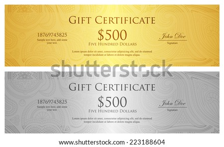 Exclusive golden and silver gift coupon with pattern in vintage style - stock vector
