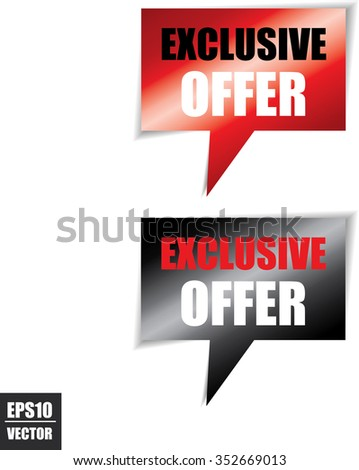 Exclusive offer speech bubbles square template | business banner with symbol icon - Vector.