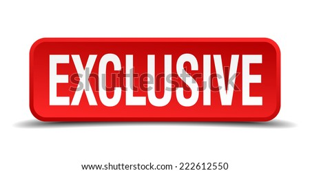 Exclusive red 3d square button isolated on white background - stock vector