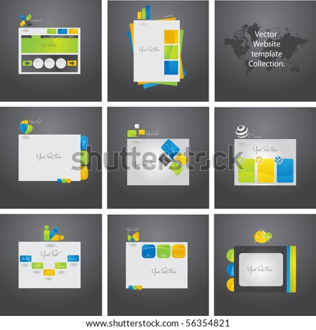 Exclusive vector set of eight website templates. - stock vector