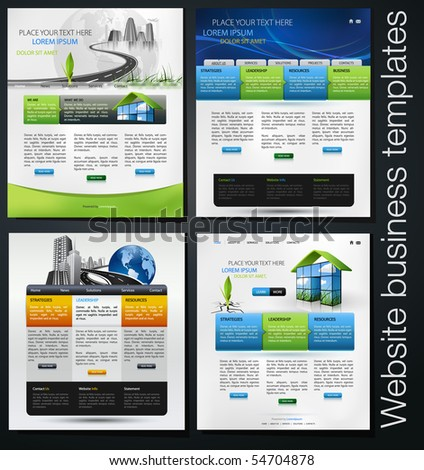 exclusive website business templates, first set - stock vector