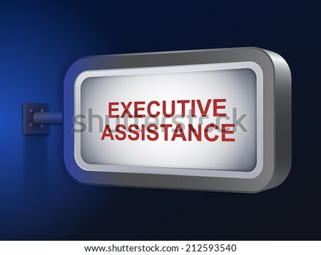 executive assistance words on billboard over blue background - stock vector