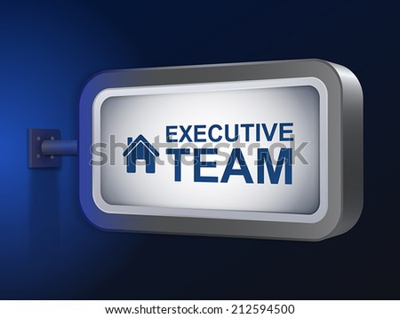executive team words on billboard over blue background - stock vector