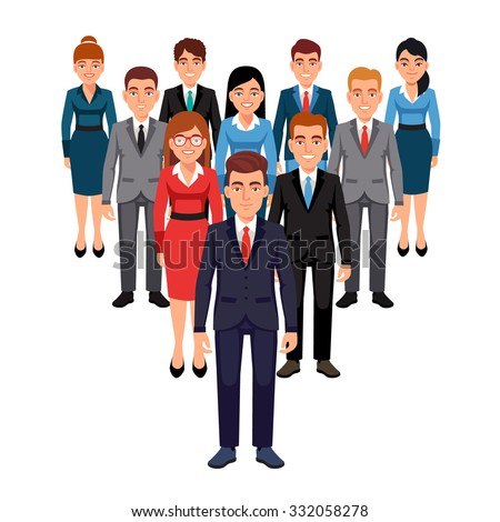 Executives team standing in form of triangle pyramid behind their leader. Leadership concept. Flat style vector illustration isolated on white background. - stock vector