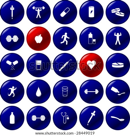exercise and health care buttons - stock vector