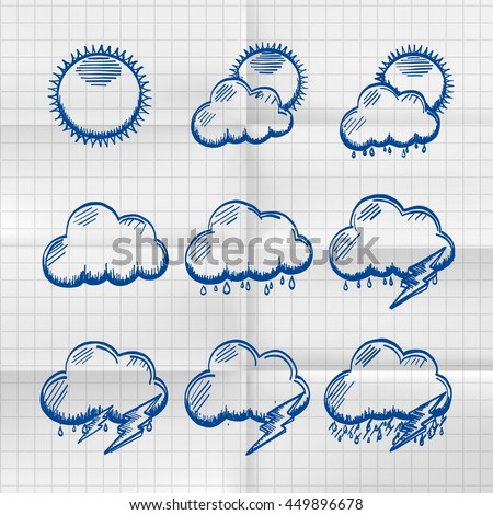 Exercise book collection clouds icon, sketch cloud and sun, weather phenomenon, template design element - stock vector