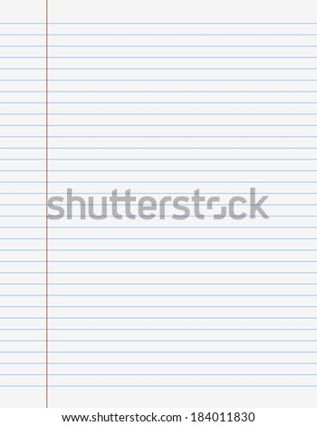 Exercise book paper one page with lines for writting, Vector illustration. - stock vector