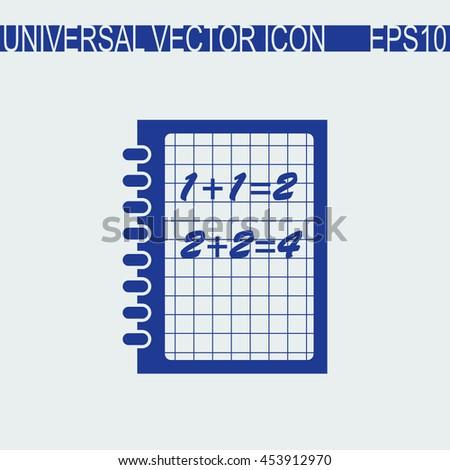 Exercise book vector icon. Mathematics sign. - stock vector