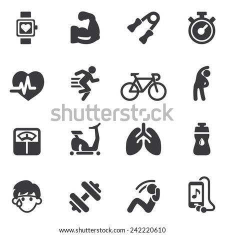 Exercise Silhouette icons - stock vector