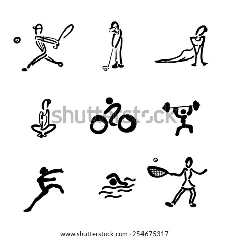 Exercise sport icons set cartoon vector