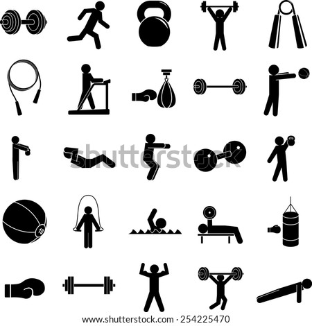 exercise symbols set - stock vector