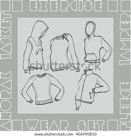 exercise wear set vector illustration. Hooded jackets, jumpers and anorak. Monochrome linear graphic. Cubic letters. Isolated objects - easy to transform. - stock vector