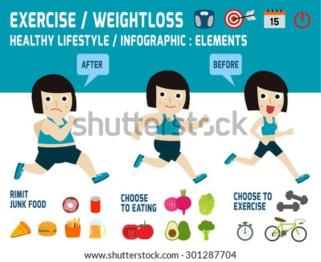 exercise.weight loss.obese women lose weight by jogging.infographic element. care concept.vector,flat icons design,medical illustration - stock vector
