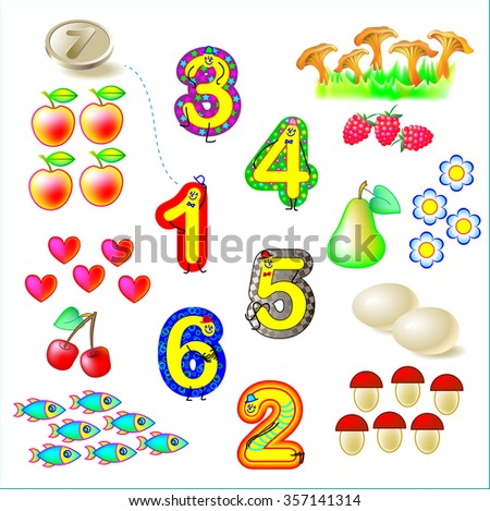 Exercises for young children - needs to join objects with the relevant numbers. Develops skills for counting. Vector image. - stock vector