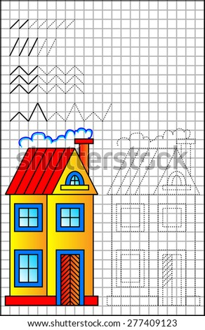 Exercises for young children on a square paper. Developing skills for writing and drawing. Vector image.