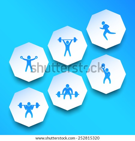 Exercises, trendy blue icons vector illustration, eps10, easy to edit - stock vector