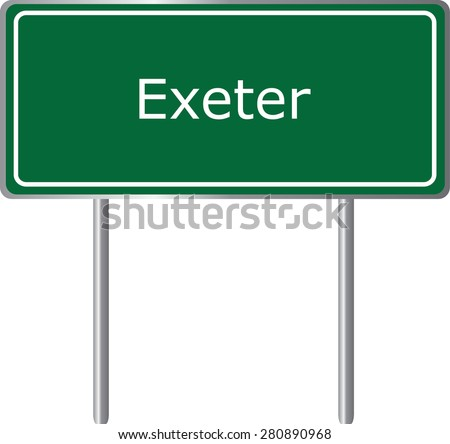 Exeter , California, road sign green vector illustration, road table, USA city - stock vector