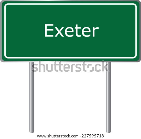 Exeter , United Kingdom ,  road sign green vector illustration, road table - stock vector