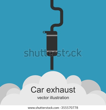 Exhaust pipe of car with the clouds of smoke.  Air pollution. Exhaust car. Carbon dioxide emissions. Vector illustration.