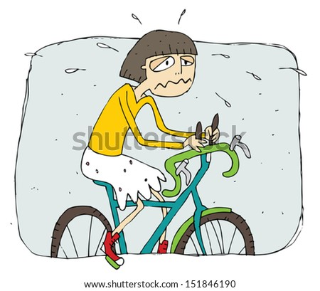 Exhausted girl riding a bike cartoon. Illustration is in eps8 vector mode. - stock vector