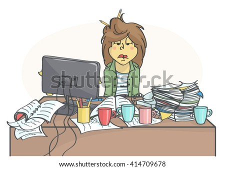 Exhausted, overworked business woman or a clerk sitting at messy office table, all in stress. - stock vector