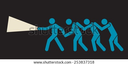 exhausted team following brave leader in the dark - stock vector