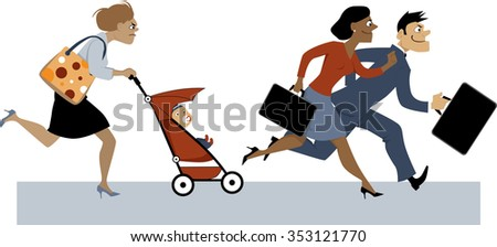 Exhausted woman with a baby in a stroller and a diaper bag trying to catch up with her co-workers, EPS 8 vector illustration