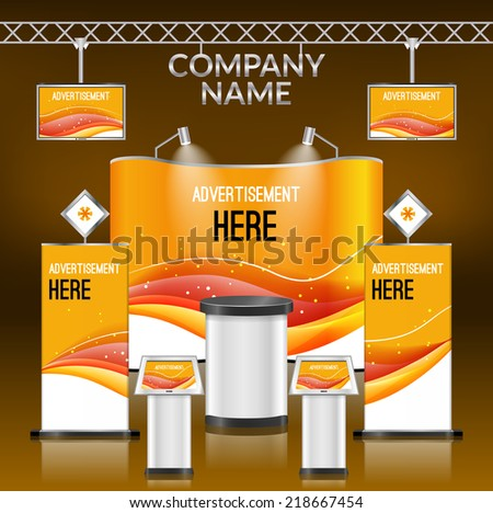 Exhibition advertising promotion stand orange design layout template vector illustration - stock vector