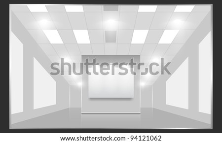 Exhibition hall with white frames on the wall, illuminated by floodlights. Part of set. Vector interiors. - stock vector