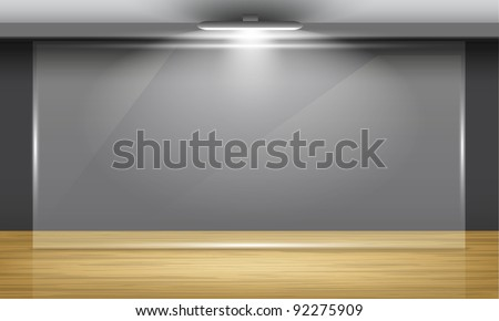 Exhibition hall with wooden floor and glass frame in middle of the room, illuminated by searchlights. Part of set. Vector interiors.