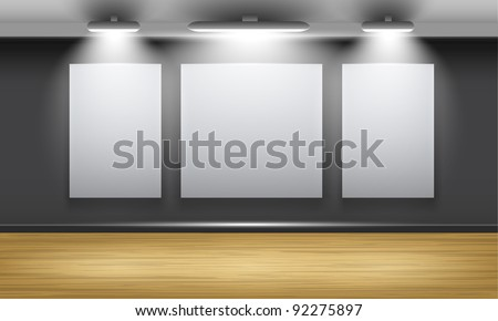 Exhibition hall with wooden floor and the three frames on the wall, illuminated by floodlights. Part of set. Vector interiors.