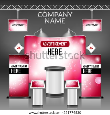 Exhibition promotion display stand pink design layout template vector illustration - stock vector