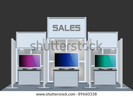 Exhibition Sale TV Stand - stock vector
