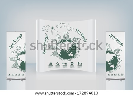 Exhibition stand display booth and roll up banner design, Ecology concept creative drawing on global environment with happy family stories concept idea, Vector illustration modern design template - stock vector