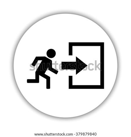 exit   black vector icon - stock vector