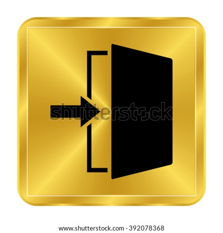 exit - black vector icon;  gold button