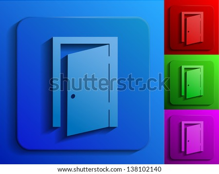 exit door monochrome icons - stock vector