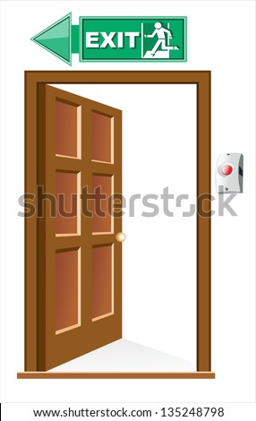 exit door, sign with human figure on stairs, vector