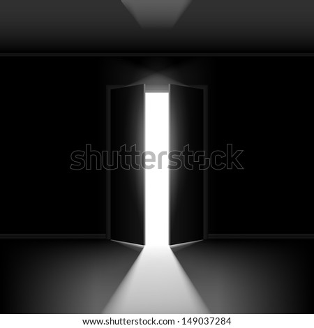 Exit door with light. Illustration on black empty background - stock vector
