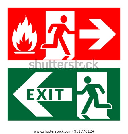 Exit sign. Emergency fire exit door and exit door. Green and red icon on white background. Safe condition symbol. Public information label with flame, human figure and arrow. Stock Vector illustration - stock vector