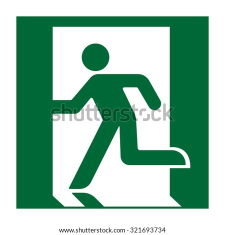 Exit sign. Emergency fire exit door and exit door. Green icon on white background. Safe condition symbol. Label with human figure. Vector illustration - stock vector